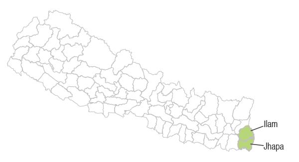 Ilam and Jhapa - Map of Nepal
