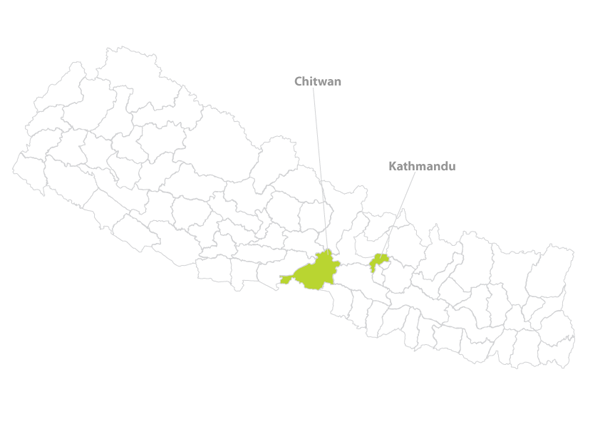 Highlighted districts: Chitwan and Kathmandu